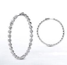 3.69 carat Round cut Diamond 14k White Gold HOOP Earring 46 x 0.08 ct 1.25 inch