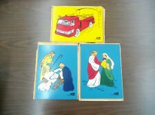 VINTAGE LOT OF 3 WOOD PUZZLES BY JUDY W/SLEEVES FORD MISSING PIECES FIRETRUCK
