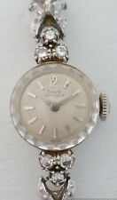 Vintage Mid Century 14k White Gold Diamond Girard Perregaux Ladies Watch