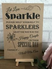 Personalised Sweet Table Sparkler Send Off  Wedding Sign Recycled Kraft Card