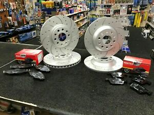 FOR VW LUPO 1.6 GTI 00-05 FRONT & REAR DRILLED GROOVED BRAKE DISCS & PADS
