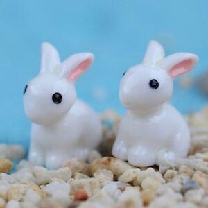 10pcs Lot Miniature White Bunnies Rabbits Fairy Garden Terrarium Dollhouse Model