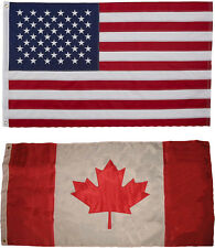 USA and Canada Flag 3x5 EMBROIDERED 2 double sided Flag Wholesale Lot