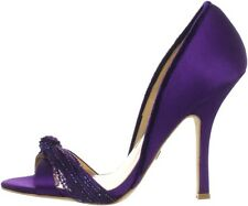 NIB Badgley Mischka RIVER open toe pumps heels beaded knot shoes PLUM purple 7