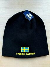 BLACK Sweden Skull BEANIE Hat Toque UNISEX SuperWarm Sverige