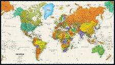 "Tyvek World Wall Maps - PACKAGE OF FOUR -  Colorful Updated 2016 28.5"" x 50"""