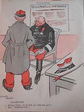 1909 Original Print Militaire réglement de l'infirmerie Déculottez..vous
