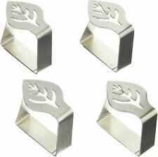More details for kitchencraft decorative stainless steel tablecloth clips - leaf design