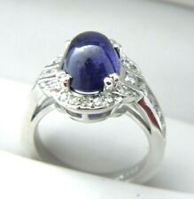 14k White Gold 4.86ct Natural Sapphire Cabochon Diamond Ring