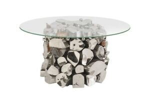 "22"" Wide Accent Table Stainless Steel Copper Stone Base with Glass Top 789"