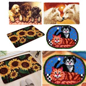 Tiere Wolf Hund Katze Sonnenblumen Latch Hook Rug Kits DIY Kissenmatte Kissen