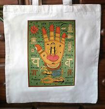 ECO Friendly Shabby Chic Cotone Tote Bag-YANTRA stampa dal Rajasthan