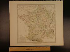 1844 Beautiful Huge Color Map of France Provinces Normandy Dauphin Atlas