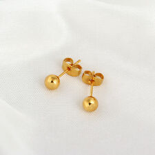 JP 1Pair 18K Gold Plated Ear Stud Dots 0.8mm With Earring Back Stoppers 5mm