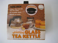 NEW RAPID BREW WHISTLING  GLASS TEA KETTLE RARE VINTAGE MADE IN USA