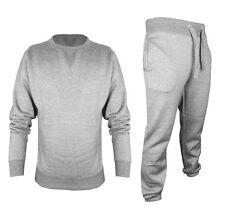 Mens Plain Regular Jogging Suit Full Tracksuit Sweat Shirt Bottoms Top Fleece M Grey