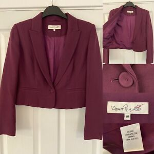Damsel In A Dress Smart Purple Aubergine Cropped Blazer Jacket - UK Size 10