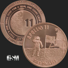 Lot/Tube of 20  - 1 oz Copper Rounds Apollo 11 50th Anniversary