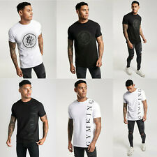 Gym King Mens New Designer Crew Neck Jersey Circle & Text Logo T shirt Tee Top