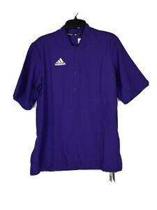 Adidas Men's Baseball Batting Cage BP Jacket SS 1/4 Zip Purple Size S Small