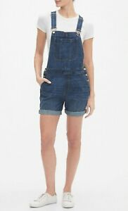 NEW NWT Womens GAP Denim Bib Overalls Jean Shorts Distressed Medium Wash $69 *F5