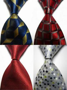 Lot of 4 Classic Patterns Checks Dot JACQUARD WOVEN 100% Silk Men's Tie Necktie