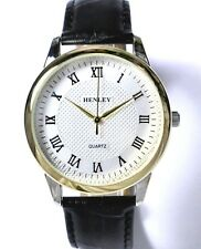 Henley Mens Classic Quartz Watch with Black Genuine Leather Strap in Gift Box