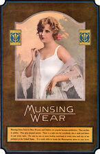 Munsingwear Union Suits BEAUTIFUL BLONDE MODEL Lace Peignoir LARGE 1920 COLOR AD