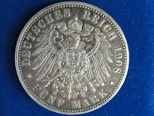 1908 A GERMANY PRUSSIA 5 MARK NICE GRADE ORIGINAL COIN