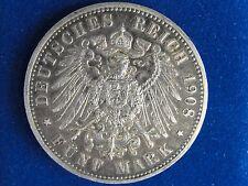 1908 A GERMANY PRUSSIA 5 MARK NICE GRADE ORIGINAL COIN