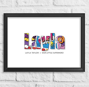 Personalised Birthday Gift Name Superhero Collage Word Art Print Christening
