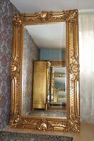 EN PROMOTION: Miroir 200X130CM bois massif doré à la feuille d'or d'un château