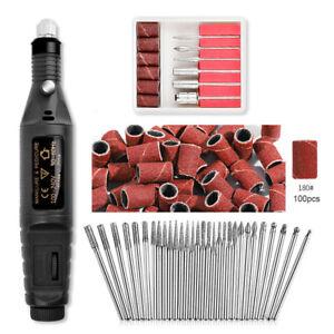 Machine Electric Nail Drill Bits Set Mill Cutter Nail Art Sanding File Tool Kit