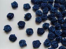 "3/8"" (W) Navy Dark Blue Polyester Satin Mini Ribbon Roses Flower-100 Pcs-R0030D"
