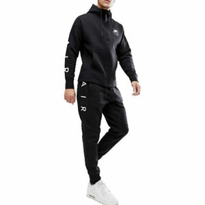 Nike Air Mens Tracksuit Fleece Hoody Joggers Sweatpants Hoodie Bottoms New Black