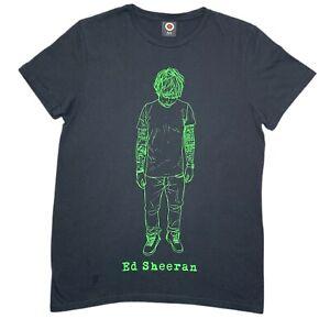 Ed Sheeran Tour Adults Black Unisex T-Shirt Size Medium Green Outline