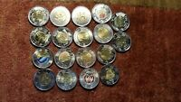 Canada $2 Toonies Commemorative Rare Collection Of 18 Mint Beauty Coins.