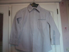 Chemise blanche rayée marron/bleu Vert Baudet 5 ans