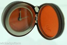 Philippi Equipe Classic Desk Clock Alarm Watch Stainless Steel Leather Traveler