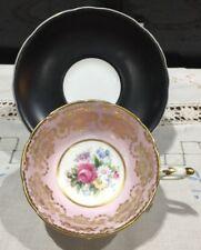 Rare Paragon Pink And Gold Damask Cabinet Tea Cup & Black Saucer Floral