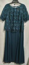 Alex Evenings Woman Plus 16W Dark Teal Lace Long Formal Dress NWT $240