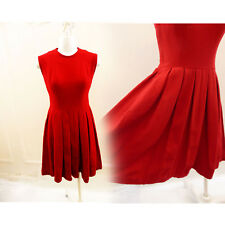 Vintage 50s Dress Size M Red Rockabilly Pleat Lolita Cupcake Vtg 60s Secretary