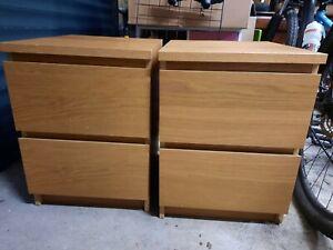 2 X Ikea Malm Bedside Cabinet - 2 Drawers