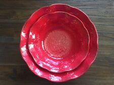 Marseille RED Melamine 2pc SERVING BOWLS Rustic DISTRESSED SCALLOPED New