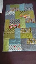 """handmade patchwork quilted throw ,japanese momo cotton fabric 72"""" x 44"""" stunning"""