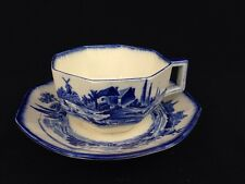 Vintage Royal Doulton Norfolk Blue And White Transferware Cup Saucer Art Deco