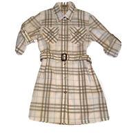 Burberry Girls Dress Size 6Y Summer Plaid Pink Beige Blue Cotton EUC
