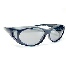 Überbrille Sonnenbrille über Brille Coverbrille Sun-Cover schwarz oval Neu