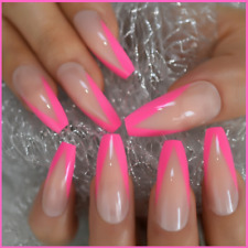 False Nails Ballerina Coffin French Press On Extra Long UV Gel Glossy Rose Pink