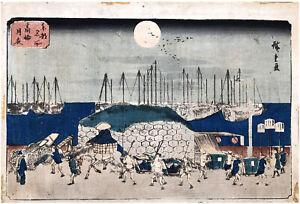 Moonlit Evening at Takanawa by Ando Hiroshige ORIGINAL Woodblock Print